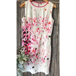 ELIE TAHARI Paint Brush Stroke Sleeveless Dress